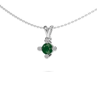 Foto van Hanger Cornelia Round 375 witgoud smaragd 5.5 mm