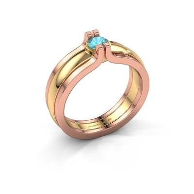 Foto van Ring Jade 585 goud blauw topaas 4 mm