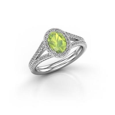Engagement ring Rachele 2 585 white gold peridot 7x5 mm