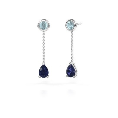 Picture of Drop earrings Laurie 3 950 platinum sapphire 7x5 mm