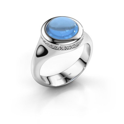 Photo de Bague Lesli RND 585 or blanc topaze bleue 10 mm