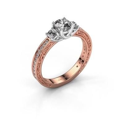 Verlovingsring Betty 2 585 rosé goud zirkonia 5 mm