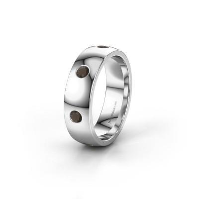 Wedding ring WH0105L26BP 950 platinum smokey quartz ±0.24x0.08 in