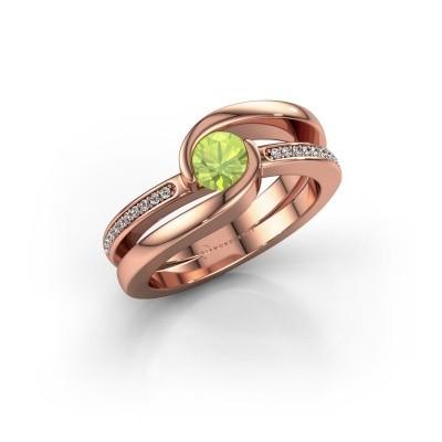 Foto van Ring Xenia 375 rosé goud peridoot 5 mm