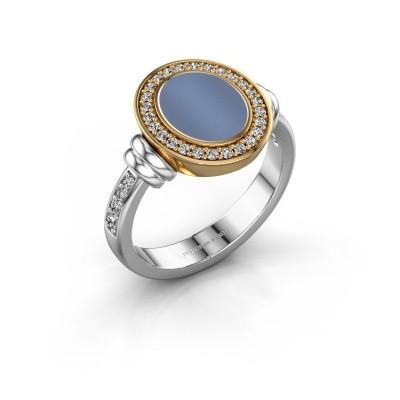 Zegelring Frido F 585 witgoud licht blauwe lagensteen 10x8 mm