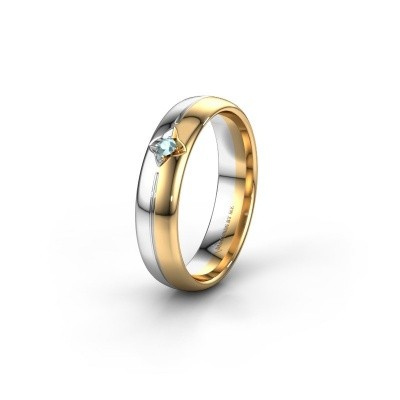 Trouwring WH0221L35X 585 goud aquamarijn ±5x1.5 mm