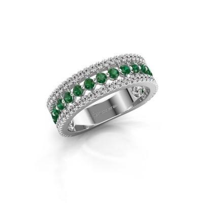 Verlovingsring Elizbeth 1 585 witgoud smaragd 2 mm