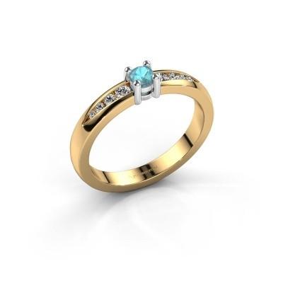 Foto van Verlovingsring Zohra 585 goud blauw topaas 3 mm