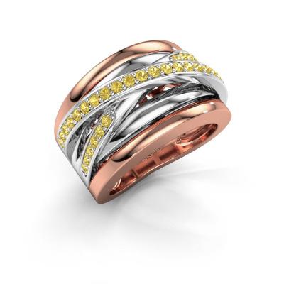 Foto van Ring Clair 3 585 rosé goud gele saffier 1.5 mm
