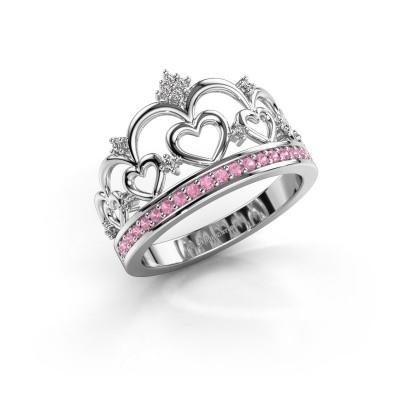 Ring Kroon 2 925 zilver roze saffier 1.2 mm