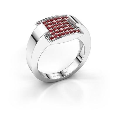Ring Silke 950 platina robijn 1.2 mm