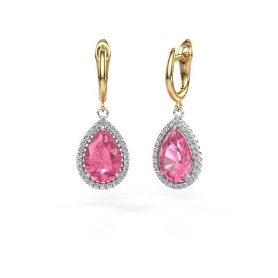 Oorhangers Hana 1 585 witgoud roze saffier 12x8 mm
