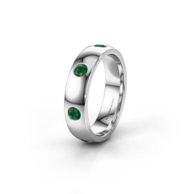 Trouwring WH0105L25BP 585 witgoud smaragd 3 mm ±5x2 mm