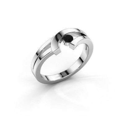 Ring Yentl 925 zilver zwarte diamant 0.12 crt