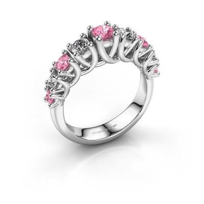 Verlovingsring Fatima 950 platina roze saffier 3.7 mm