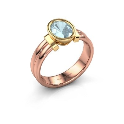 Bague Gerda 585 or rose aigue-marine 8x6 mm