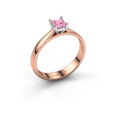Engagement ring Sam Square 585 rose gold pink sapphire 4 mm