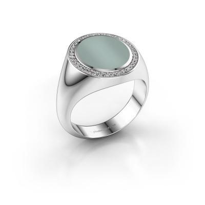 Foto van Zegel ring Adam 3 375 witgoud groene lagensteen 13x11 mm