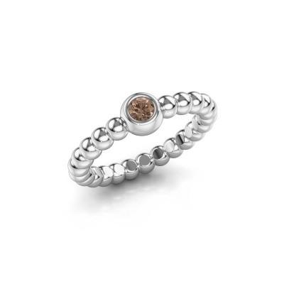 Aanschuifring Dini 925 zilver bruine diamant 0.10 crt