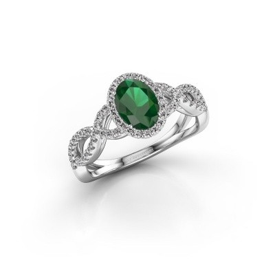 Engagement ring Dionne ovl 925 silver emerald 7x5 mm