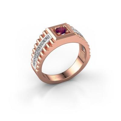 Foto van Rolex stijl ring Maikel 585 rosé goud rhodoliet 4.2 mm