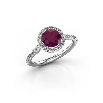 Picture of Engagement ring Seline rnd 2 585 white gold rhodolite 6.5 mm
