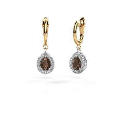 Picture of Drop earrings Ginger 1 585 white gold smokey quartz 7x5 mm