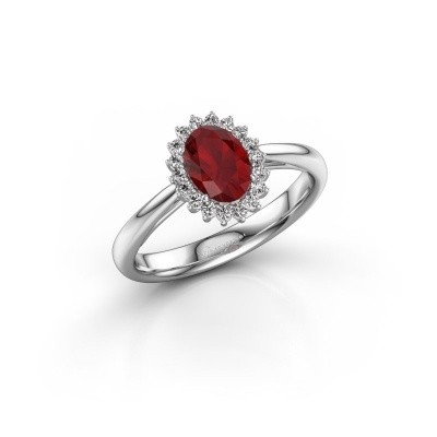 Engagement ring Tilly ovl 1 925 silver ruby 7x5 mm