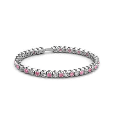 Foto van Tennisarmband Bianca 3.5 mm 585 witgoud roze saffier 3.5 mm