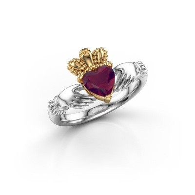 Picture of Ring Claddagh 2 585 white gold rhodolite 6 mm