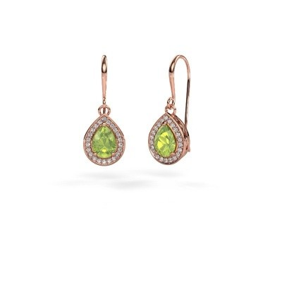 Picture of Drop earrings Beverlee 1 375 rose gold peridot 7x5 mm