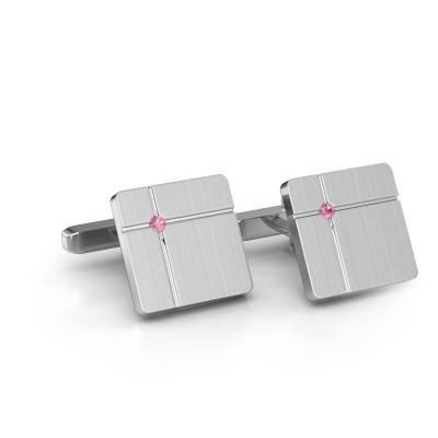 Foto van Manchetknopen Hilco 585 witgoud roze saffier 2 mm