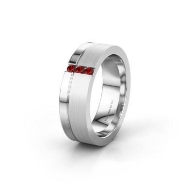 Wedding ring WH0327L16B 925 silver garnet ±0.24x0.08 in