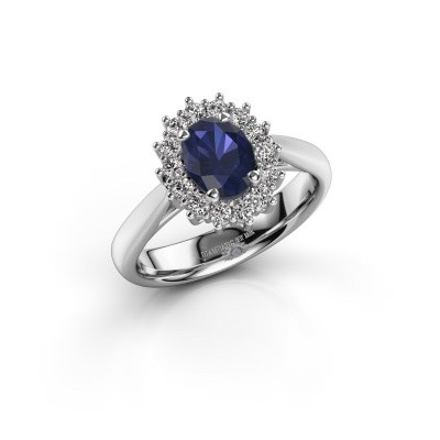 Engagement ring Margien 1 585 white gold sapphire 7x5 mm