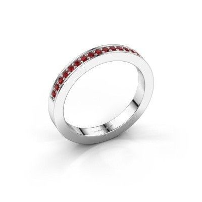 Stackable ring Loes 4 925 silver ruby 1.3 mm