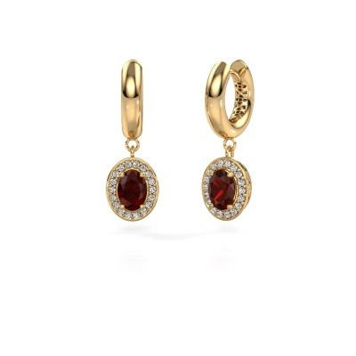Drop earrings Annett 585 gold garnet 7x5 mm