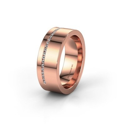 Wedding ring WH0143L17BP 375 rose gold lab-grown diamond ±7x2 mm
