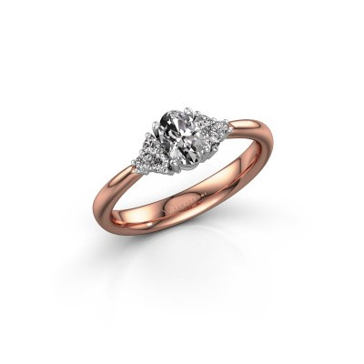 Foto van Verlovingsring Aleida OVL 1 585 rosé goud diamant 0.63 crt