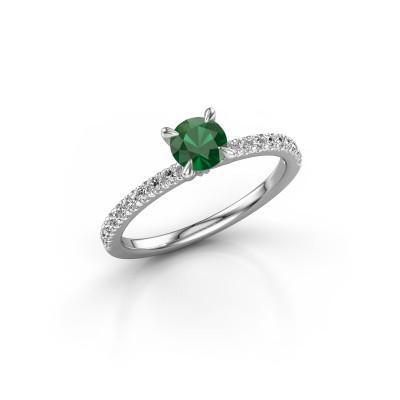 Foto van Verlovingsring Crystal rnd 2 585 witgoud smaragd 5 mm