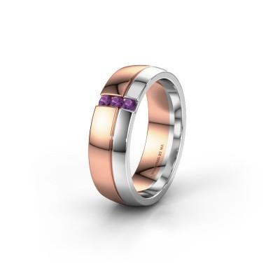 Trouwring WH0223L56A 585 rosé goud amethist ±6x1.7 mm