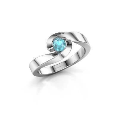 Foto van Ring Sheryl 925 zilver blauw topaas 4 mm
