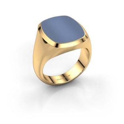 Foto van Zegelring Benjamin 4 585 goud licht blauwe lagensteen 17x14 mm