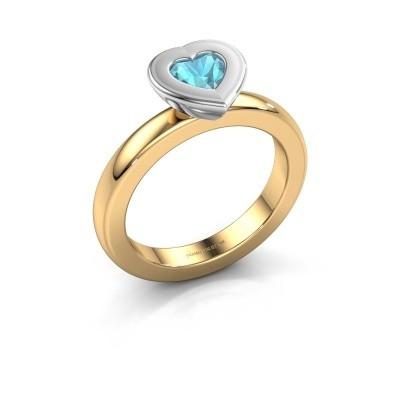 Stapelring Eloise Heart 585 goud blauw topaas 5 mm