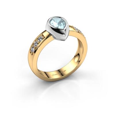 Ring Charlotte Pear 585 gold aquamarine 8x5 mm