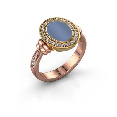 Foto van Zegelring Frido F 585 rosé goud licht blauwe lagensteen 10x8 mm