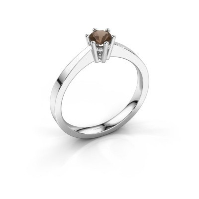 Engagement ring Noortje 925 silver smokey quartz 4 mm