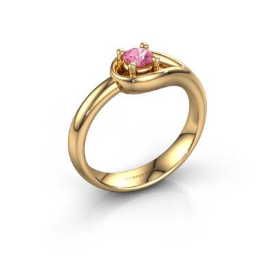 Ring Fabienne 585 goud roze saffier 4 mm