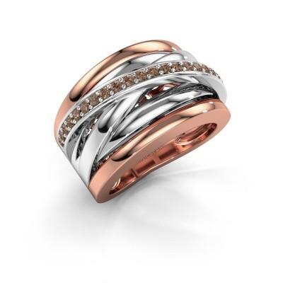 Foto van Ring Clair 1 585 rosé goud bruine diamant 0.315 crt