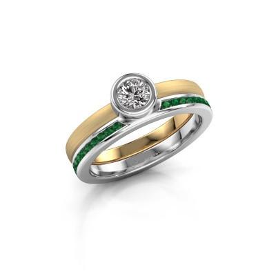 Foto van Ring Cara 585 goud smaragd 4 mm