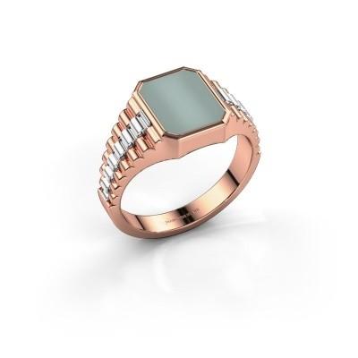 Foto van Rolex stijl ring Brent 1 585 rosé goud groene lagensteen 10x8 mm